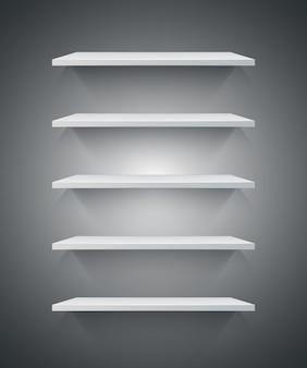 Ícone de prateleira 3d branco.