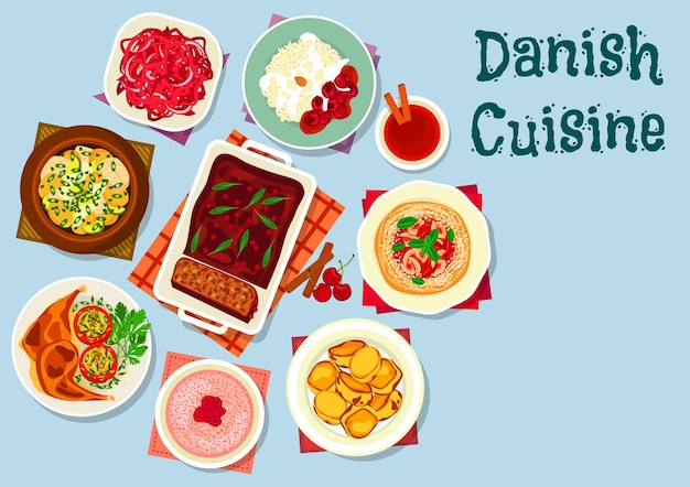 Ícone de pratos da culinária dinamarquesa e escandinava com caldeirada de peixe, salada de repolho roxo, sobremesa de arroz, batata doce, pão de cereja, patê de carne, frango com batata, mingau de leite com framboesa