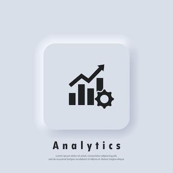 Ícone de produtividade. engrenagem cog com gráfico crescente. logotipo do analytics. vetor. botão da web da interface de usuário branco neumorphic ui ux. neumorfismo