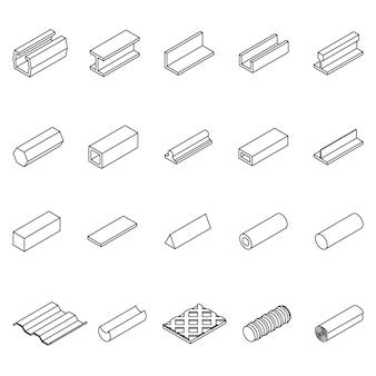 Ícone de produto de metal linha fina conjunto de símbolos pixel arte perfeita.