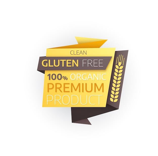 Ícone de produto premium sem glúten, alimentos orgânicos