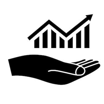 Ícone de progresso de crescimento gráfico crescendo em mãos ícone do gráfico de barras de estatística seta de aumento