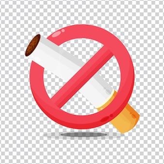 Ícone de proibido fumar no fundo em branco