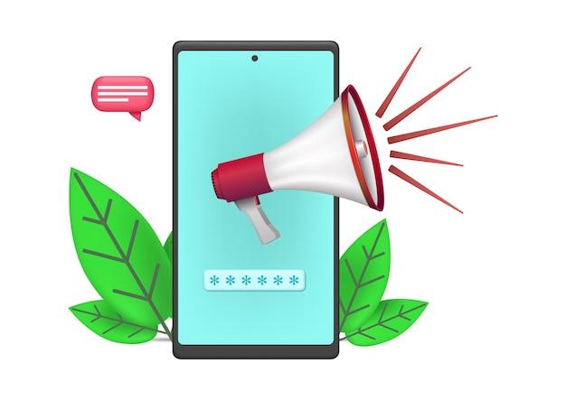 Ícone de promoção com ilustração de smartphone e megafone