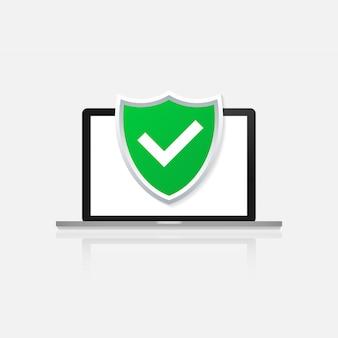Ícone de proteção de computador isolado na cor, laptop plana dos desenhos animados, protegido com o símbolo do escudo
