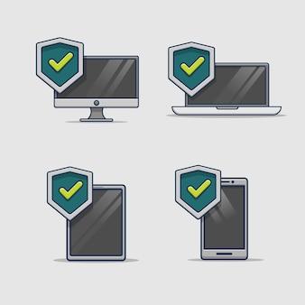 Ícone de proteção de segurança do dispositivo digital