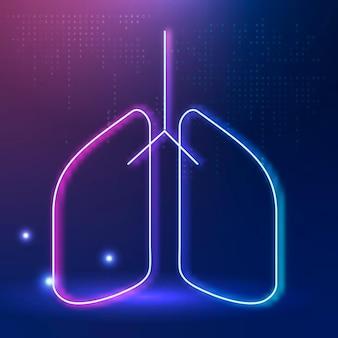 Ícone de pulmões para sistema respiratório de saúde inteligente