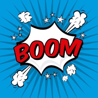 Ícone de quadrinhos boom sobre ilustração vetorial de fundo azul