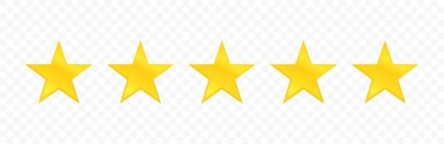 Ícone de qualidade de cinco estrelas isolado em fundo transparente. revisão de classificação de estrelas.