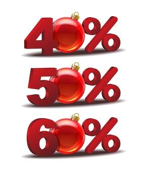 Ícone de quarenta, cinquenta e sessenta por cento de desconto com bolas de vidro de natal