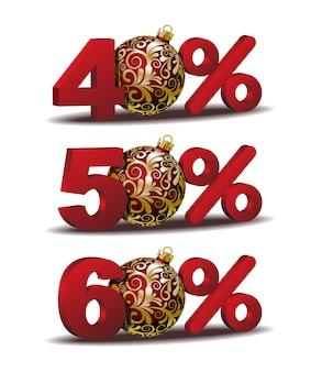 Ícone de quarenta e cinquenta e sessenta por cento de desconto com bolas vermelhas de natal