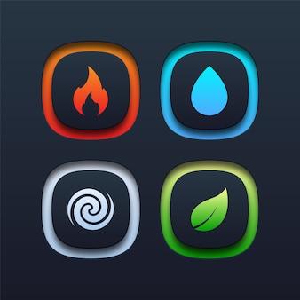 Ícone de quatro elementos