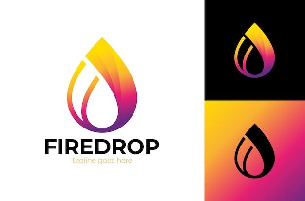 Ícone de queda de chama de água em emblema de negócios