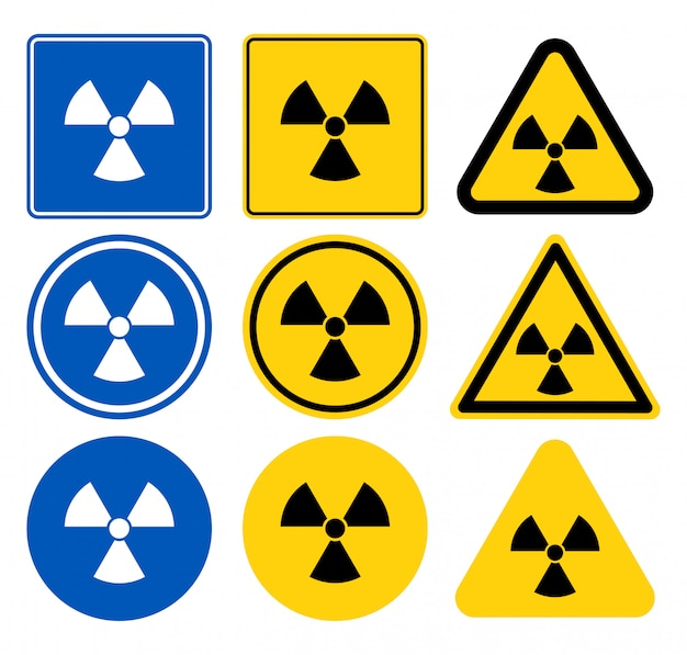 Ícone de radiação, símbolo de radiação, ícone branco sobre fundo azul, ilustração vetorial
