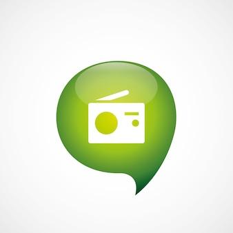 Ícone de rádio verde think bubble logo logo, isolado no fundo branco