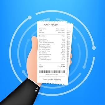 Ícone de recibo em um estilo simples, isolado em um fundo colorido. sinal da fatura. molde da conta atm ou cheque financeiro do jornal do restaurante. ilustração em vetor das ações.