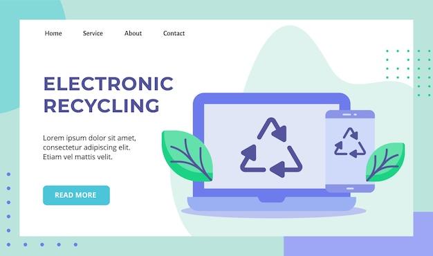 Ícone de reciclagem de folha verde de reciclagem eletrônica na campanha de exibição de tela de smartphone de laptop