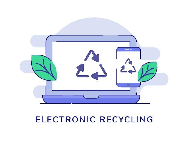 Ícone de reciclagem do conceito de reciclagem eletrônica no display do laptop