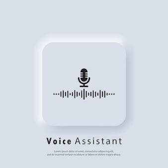 Ícone de reconhecimento de voz. assistente pessoal ai e ícone de reconhecimento de voz. microfone com onda sonora. vetor. botão da web da interface de usuário branco neumorphic ui ux. neumorfismo