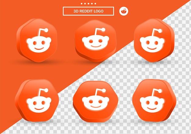 Ícone de reddit 3d em moldura de estilo moderno e polígono para logotipos de ícones de mídia social