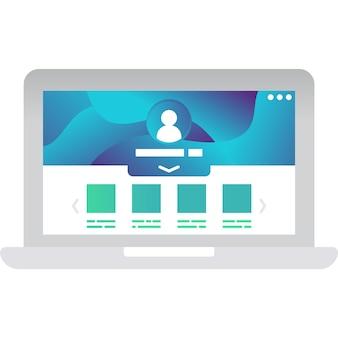 Ícone de rede de oficina virtual isolado no branco