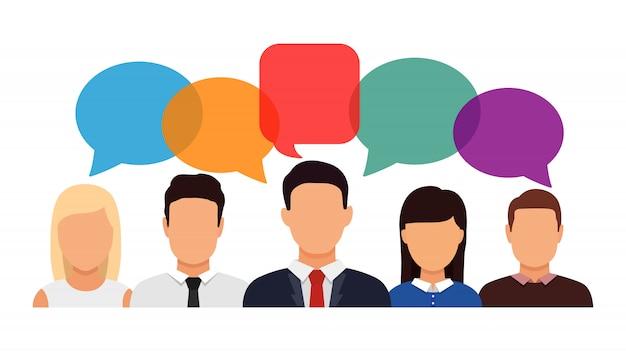 Ícone de redes sociais. pessoas falando e bolhas do discurso