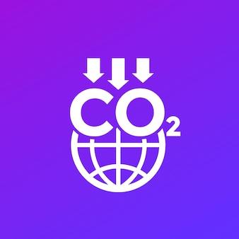 Ícone de redução de emissões de carbono com globo