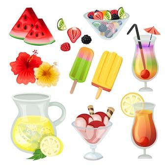 Ícone de refresco de ícone de elemento verão definir ilustração vetorial