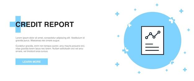 Ícone de relatório de crédito, conceito de modelo de contorno de banner. desenho de ilustração de linha de relatório de crédito