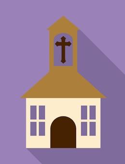 Ícone de religião de edifício transversal de igreja