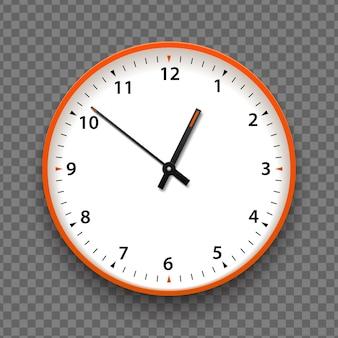 Ícone de relógio de parede laranja e branco com números.