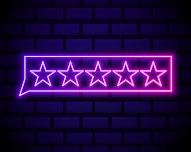 Ícone de revisão do cliente em estilo de linha de néon. símbolo do conceito de feedback do usuário.
