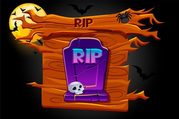 Ícone de rip do jogo, banner de madeira e noite assustadora. ilustração de um túmulo para o halloween e a lua com morcegos.