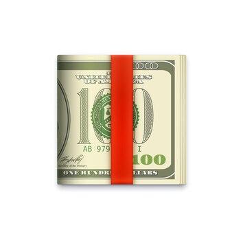 Ícone de rolo de dinheiro, notas de papel de dólares americanos no clipe da carteira