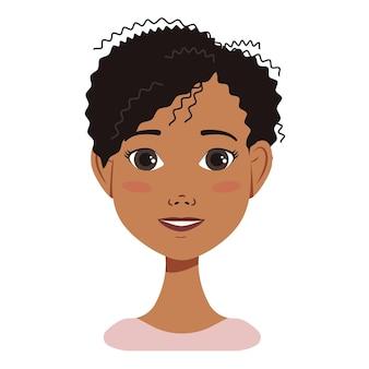 Ícone de rosto de avatar de mulher afro-americana com cabelo preto, com diferentes emoções desenho atraente c ...