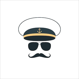 Ícone de rosto de capitão marinheiro