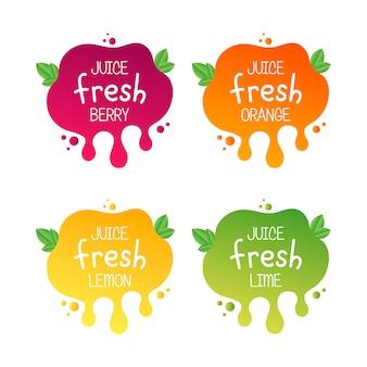 Ícone de rótulo de frutas frescas de suco para suas necessidades