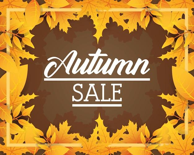 Ícone de rótulo sazonal de venda outono