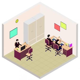 Ícone de sala de escritório isométrica empregado