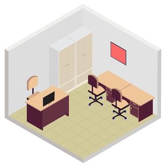 Ícone de sala de escritório isométrica