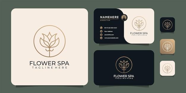 Ícone de salão de beleza e modelo de cartão de visita com design de logotipo dourado de luxo spa