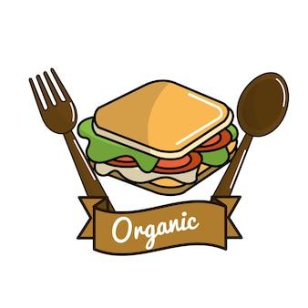 Ícone de sanduíche com colher e garfo conceito orgânico
