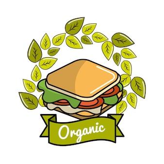 Ícone de sanduíche com folhas conceito orgânico