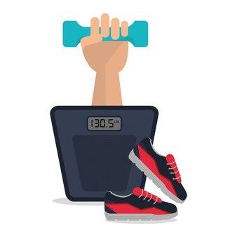 Ícone de sapatos com peso em escala