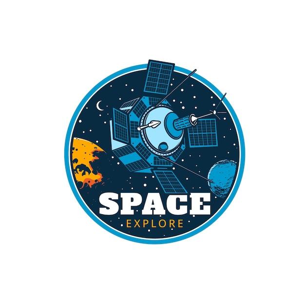 Ícone de satélite da estação orbital do explorador espacial
