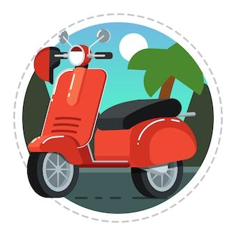 Ícone de scooter vintage em design plano