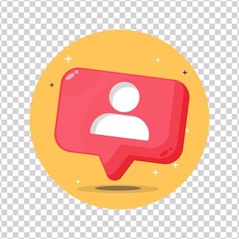 Ícone de seguidor de usuário de notificação de mídia social em fundo em branco