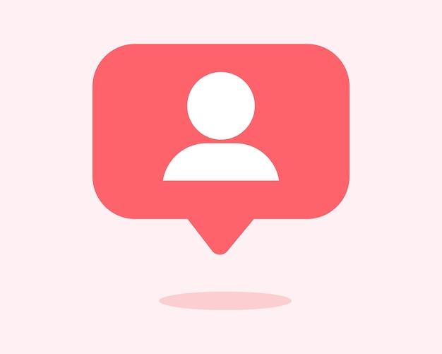 Ícone de seguidor de usuário ícone de notificação de mídia social em ilustração vetorial de balões de fala