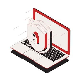 Ícone de segurança cibernética isométrica com ilustração de bloqueio e escudo de laptop