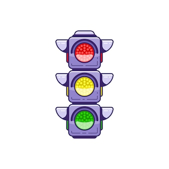 Ícone de semáforo isolado no fundo branco ilustração de arte de linha estilo simples